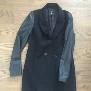 Aqua peacoat with leather sleeves